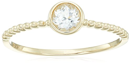 10k Yellow Gold White Topaz Solitaire Beaded Shank Stackable Ring, Size 7