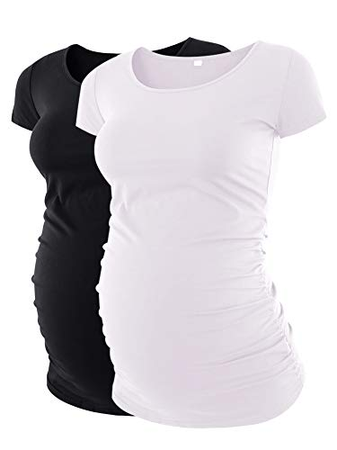 Crew Tee Maternity - Liu & Qu Women's Maternity Classic Side Ruched T-Shirt Tops Mama Pregnancy Clothes Black White