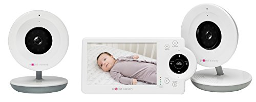 4.3'' LCD Baby Monitor System w/ Two Digital Zoom Cameras - features Audio, Video and Built-in Monitor Stand, 800 ft Range, Infrared Night Vision and Temperature, Motion and Sound Detection Alerts by Project Nursery