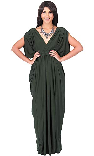 KOH KOH Womens Long V-Neck Summer Sexy Gown Grecian Flowy Sleeveless Maxi Dress