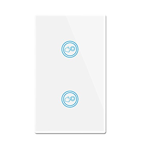 Smart Wifi Light Switches Touch Wall Switch Panel Replace 2 Switches in 1 Gang Wall Box Combination Smart Light Switch Compatible with Alexa and Work with Google Home and IFTTT (1 Gang Switch Box)