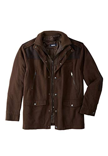 KingSize Men's Big & Tall Wool Combat Jacket, Espresso - Wool Mens Parka