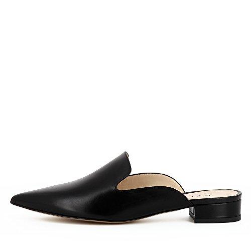 Femme Mules Shoes Noir Evita Lisse Cuir Franca aztnwfFq