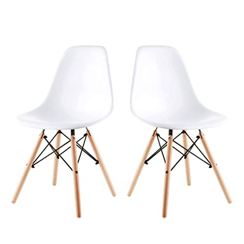 - Alovhad Dining Chairs Set of 2 Modern Kitchen Furniture Side White Chairs Mid Century Dinning Room Home Furniture Plastic Wooden Legs Waiting Room Chairs Post Modern Chair