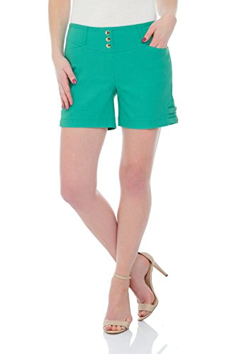 Rekucci Women's Ease Into Comfort Stretchable Pull-On 5 inch Slimming Tab Short (12,Aqua)