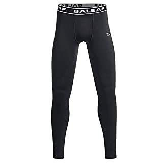 Baleaf Youth Boys' Compression Thermal Baselayer Sport Basketball Tights Fleece Lined Leggings Black Size M