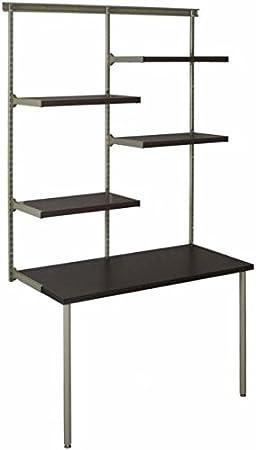 ClosetMaid Shelftrack Elite Home Office Kit With Desk Wall Mount Chocolate Laminate Finish