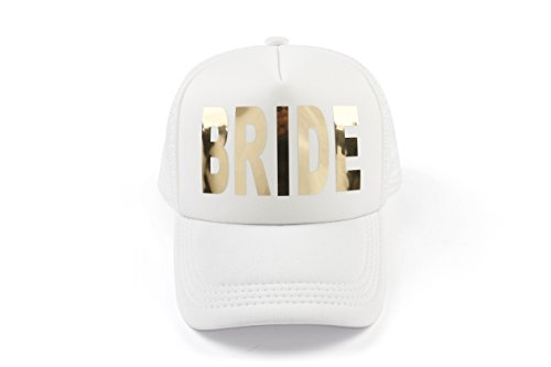Bachelorette Party Bride White Cap Gold Metalllic Trucker Hats (White Bride)
