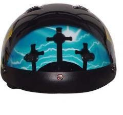 DOT VENTED BLUE CROSS CHRISTIAN MOTORCYCLE HALF/BEANIE HELMET-M (Shorty Beanie Helmet Dot)