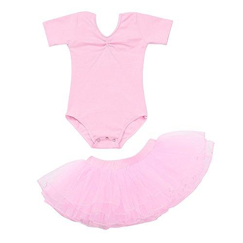 Clearance,Kids Girl's 2pcs Leotard Ballet Outfit Set Short Sleeve Leotard Romper Gymnastics Tutu Skirts Yamally (18-24 Months, Pink)