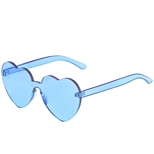 (One Piece Heart Shaped Rimless Sunglasses Transparent Candy Color Eyewear (Ice Blue))