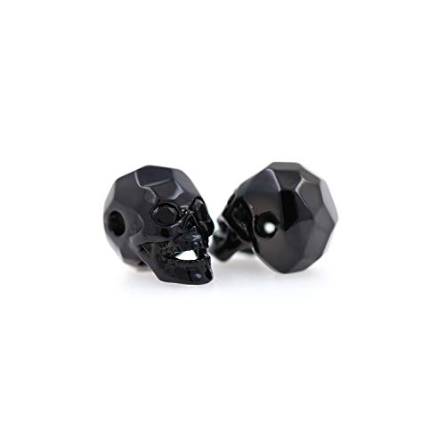 - SouthBeat Micro Pave Black CZ skull beads CZ Crystal Cubic Zirconia Carved Skull Head for Bracelet/Necklace Charm Beads 8x13mm (10Pcs, Black)