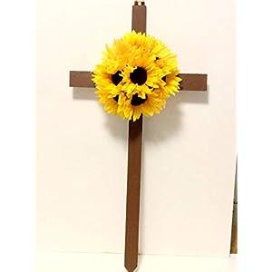 Cemetery Cross, Memorial Flowers, Sunflower Silk Flowers 100