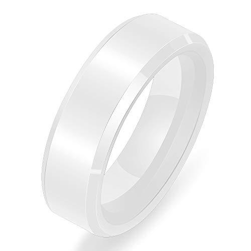 Mens White Ceramic - VQYSKO 6mm Polished White Ceramic Rings for Men Women Engagement Wedding Rings (W7)