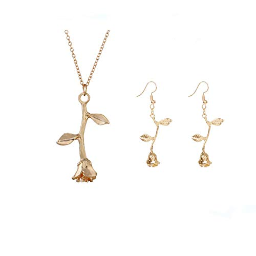 - Rose Flower Earring Pendant Necklace Rose Vintage 3D Personalized Rose Metal Flower Necklace Beast Rose Flower Dangle Earrings Romantic Rose Jewelry Set for Women Gril Gift (gold-plated-alloy)