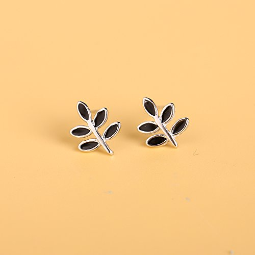 s925 Silver Stud Earrings Earring Dangler Eardrop Women Girls Hypoallergenic Gift Ideas Love Sweet cat Unique Jewelry (Black Leaves (Ivory Leaf Chandelier)