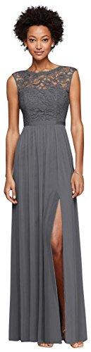 Davids Bridal Long Bridesmaid Dress With Lace Bodice Style F19328  Grey  30