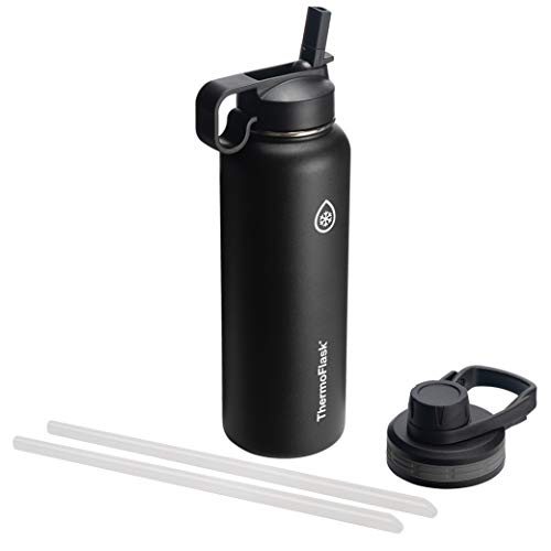 Thermoflask 50060 Double Insulated Stainless Steel Water Bottle with Chug Straw Lid, 40 oz, Black