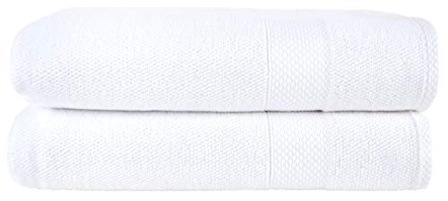 Bath Sheets White 2-Pack Set - 100% Cotton Ultra-Absorbent Oversized Extra Large Bath Sheet - Luxury Quick Dry Jumbo Size Bath Towels - Premium Quality Hotel Collection Big Soft Towels ()