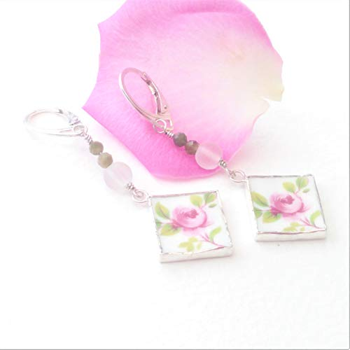 Ditsy Rose Drop Earrings Handmade with Vintage China, Green Tourmaline and and 925 Sterling Silver, Broken China Jewelry, Sterling Silver Drop Earrings, Broken China Earrings