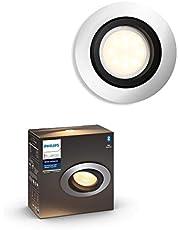 Philips Hue Milliskin inbouwspot - Duurzame LED Verlichting - Warm tot Koelwit Licht - Dimbaar - Verbind met Bluetooth of Hue Bridge - Werkt met Alexa en Google Home - Aluminium - Rond