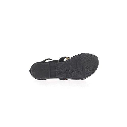 Sandales noires à talons de 1cm look daim brides et frange