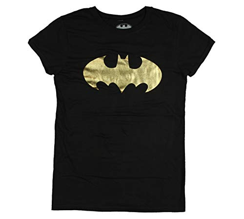 Batman Foil Logo Juniors Tee-Black (Large) -