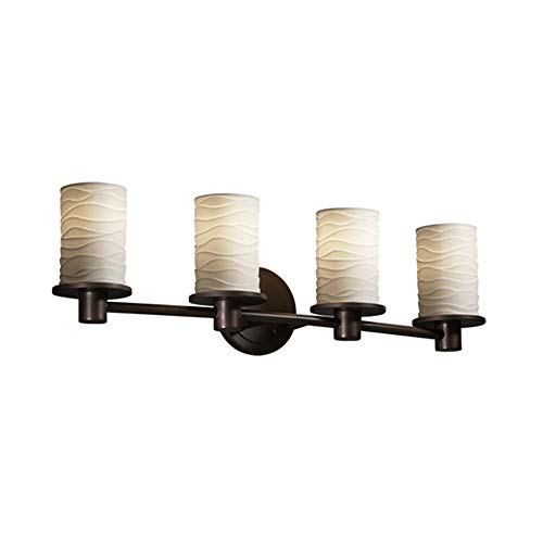 Justice Design Fan - Justice Design Group Limoges 4-Light Bath Bar - Dark Bronze Finish with Waves Translucent Porcelain Shade