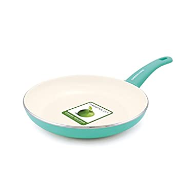GreenLife 12 Inch Non-Stick Ceramic Fry Pan with Soft Grip, Turquoise