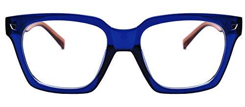 Retro Nerd Geek Oversized Eye Glasses Horn Rim Framed Clear Lens Spectacles (Blue -