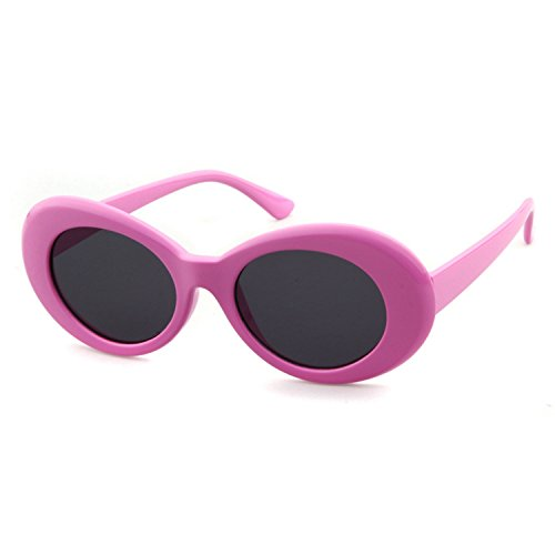 Clout Goggles Oval Sunglasses Mod Style Retro Thick Frame Kurt Cobain Inspired Sunglasses With Round Lens Vintage (Pink, - Flat Oval Lense Sunglasses