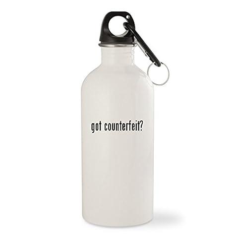 got counterfeit? - White 20oz Stainless Steel Water Bottle with Carabiner (Counterfeit Rolex)
