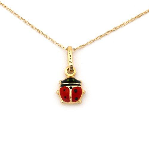 (Beauniq 14k Yellow Gold Enamel Ladybug Pendant Necklace - 18