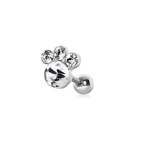 Amazing WildKlass Gemmed Animal Paw Cartilage Earring 316L Surgical Steel
