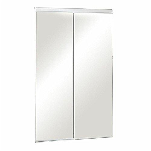 Pinecroft 48 in. x 80-1/2 in. Sliding Mirror Bevelled White Frame (Mirror Closet Sliding Door)