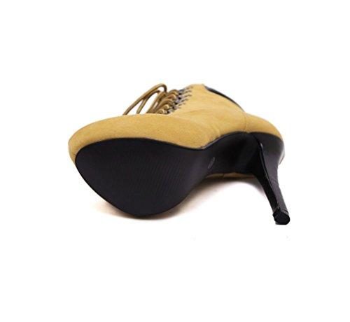 Hochhackige Ferse Martin Gelb Einfarbig Baumwollschuhe Boots LIANGXIE Damen Ankle Sexy Stiefel Braun Kreuzriemen ZHHZZ Bequeme ZFSxgP