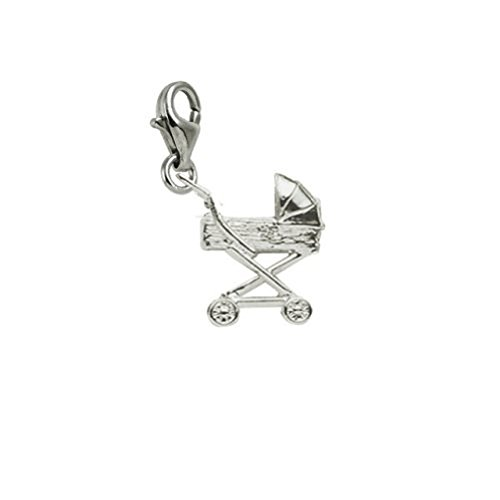 14k White Gold Baby Carriage Charm With Lobster Claw Clasp, Charms for Bracelets and Necklaces