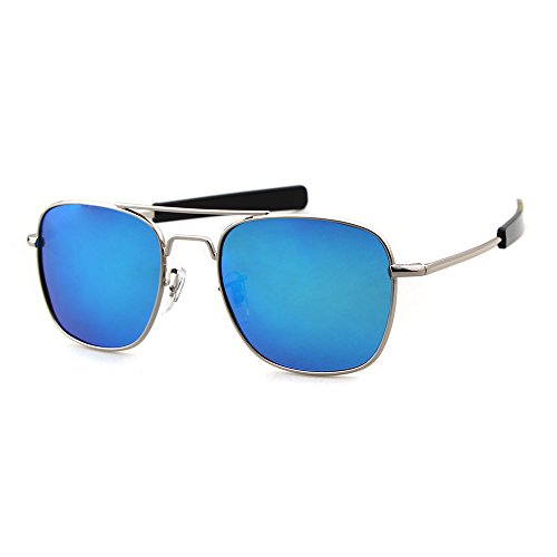 Blue Sunglasses ADEWU Lens Outdoor UV400 Goggles Frame Protection for Sports Polarized 100 Men Silver wCvCqU