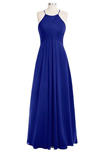 Tivansi Women's Halter Chiffon Long Bridesmaid Dresses blue Size 22