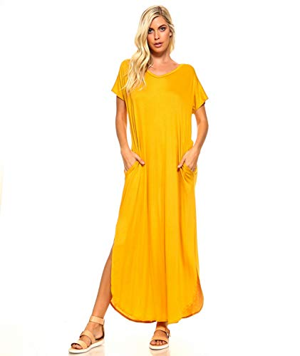 (Isaac Liev Women's Casual Short Sleeve Maxi Dress with Pockets & Side Slits (3X-Large, Mustard))