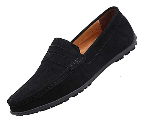 TSIODFO Suede Black Loafers for Men Slip on Dress Shoes Breathable Leather Flat Fashion Driving Shoes Penny Driver Walking Sneakers Moccasin Business Casual Shoes Big Plus Size 8.5 (890-black-42)
