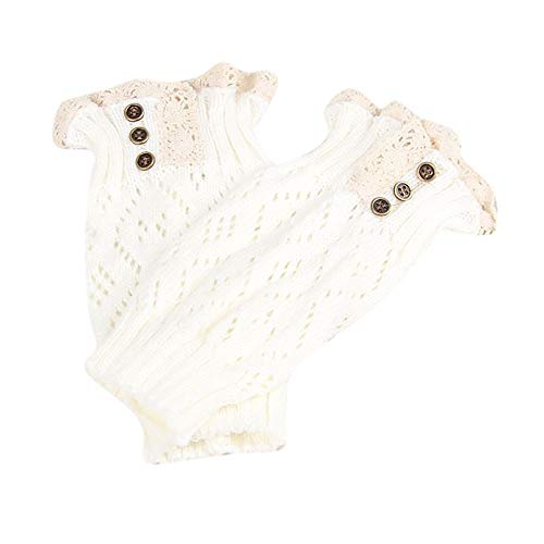 Women Lace Trim Button Leg Knit Warmer Socks Stretch Boot Leg Cuffs Boot Socks ()