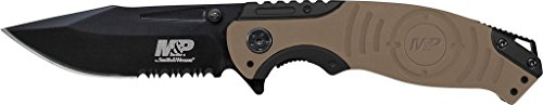 Smith & Wesson M&P SWMP13GLS 8.2in High Carbon S.S. Folding Knife with 3.5in Serrated Clip Point Blade and Aluminum Handle for Tactical, Survival and EDC