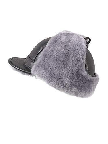 fb2679b0 Zavelio Men's Shearling Sheepskin Elmer Fudd Visor Earflap Trapper Fur Hat