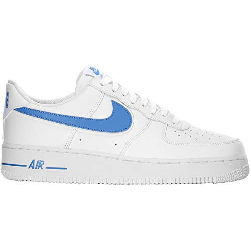 (Nike Men's Air Force 1 '07 3 Leather Shoe, White/University Blue,)