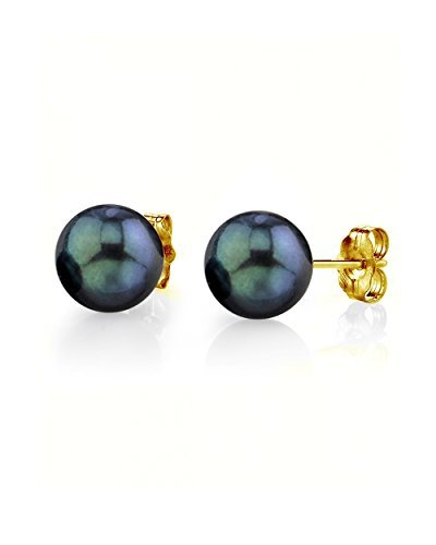 - THE PEARL SOURCE 14K Gold 8.5-9mm Round Black Cultured Akoya Stud Pearl Earrings for Women