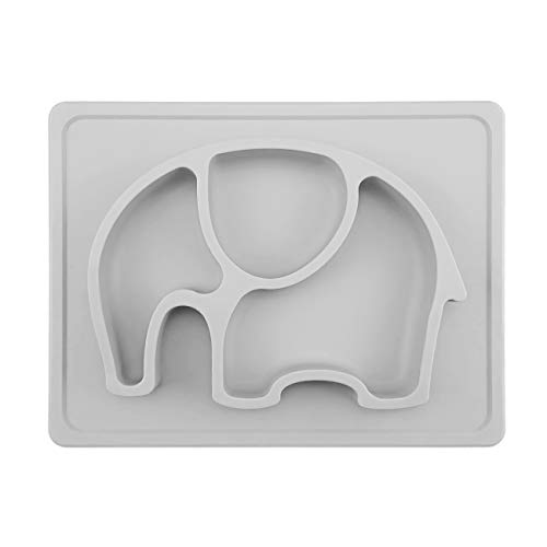 """Baby Suction Placemat - SILIVO Non-Slip Silicone Toddler Plates with Suction Cups Fits Most Highchair Trays - 10""""x7.7""""x1"""""""