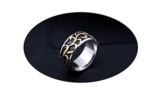 Bishilin Stainless Steel Ring Gothic Leaf Branches Wedding Ring Unique Gold Men Ring Engraved Size 11