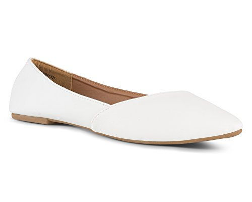 (Twisted Womens Lindsay Slanted Front Almond Toe Flat - White, Size 8)