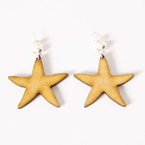 EYA ERO. Pendientes estrella de madera y plata. Pendientes originales. Hecho en España.: Amazon.es: Handmade